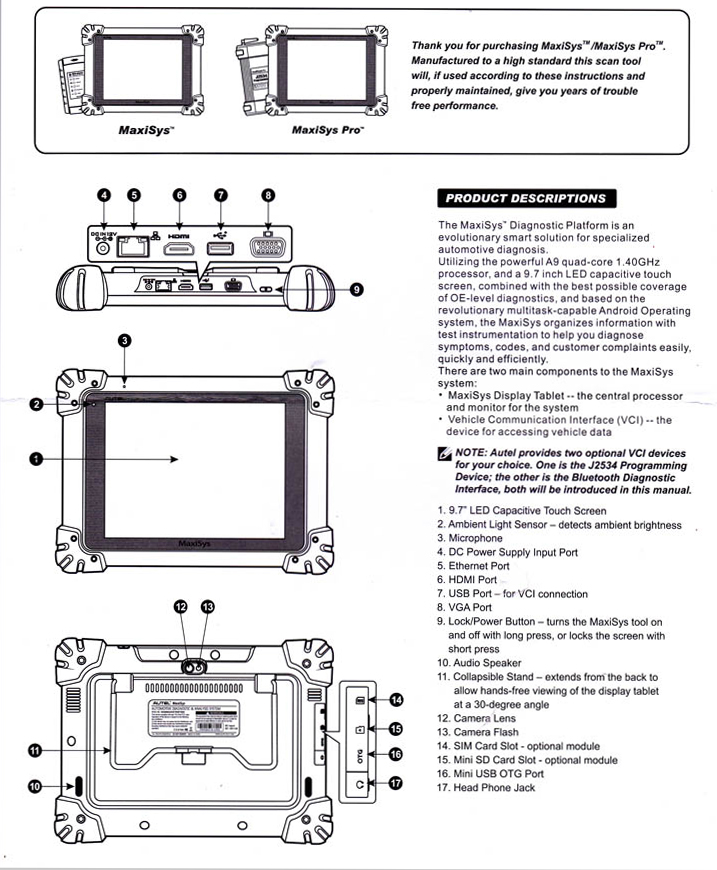 original autel maxisys pro ms908p elite vehicle diagnostic system includes the j
