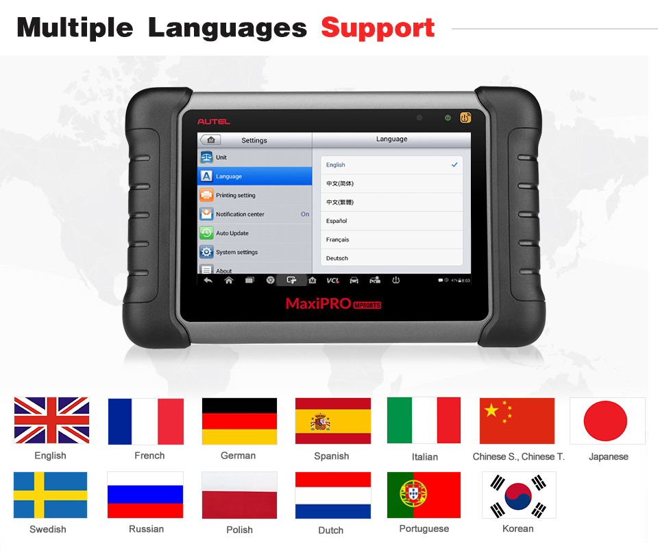 Autel MaxiPRO MP808TS Multiple Languages